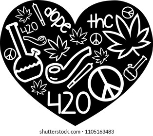 420 Weed Love Vector Stock Vector Royalty Free 1105163483