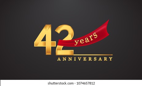 42nd anniversary design logotype golden color with red ribbon for anniversary celebration
