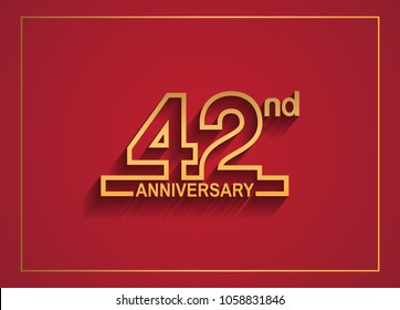 42nd anniversary design with simple line style golden color isolated on red background for celebration event
