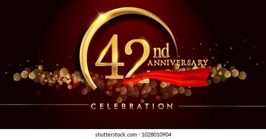 8th Anniversary Logo Golden Ring Confetti Stock Vector Royalty Free