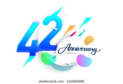 42nd years anniversary logo, vector design birthday celebration with colorful geometric background, isolated on white background.
