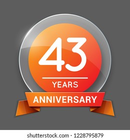 43 / Forty Three Years Anniversary Logo with Glass Emblem Isolated. 43rd Celebration. Editable Vector Illustration.