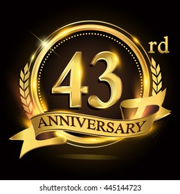 43 golden anniversary logo with ring and ribbon, laurel wreath vector design.