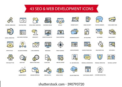 43 SEO and Web development thin line simple flat modern style icon set, collection of web and optimization vector outline icons, high quality colored symbols for web design