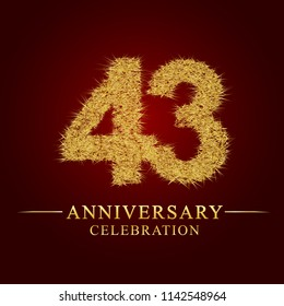 43 years aniversary celebration logotype. Logo gold pile of dry rice on red background. Number nest and fuzz gold foil.