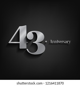 43 years anniversary  celebration. Anniversary logo elegance number and 3D style color and shadow isolated on black background, vector design for celebration, invitation card, and greeting card