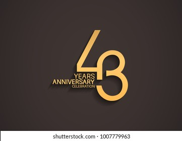 43 years anniversary celebration logotype with elegant gold color for celebration