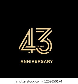43 years anniversary celebration logotype. anniversary logo with golden and silver color isolated on black background, vector design for celebration, invitation card, and greeting card - Vector