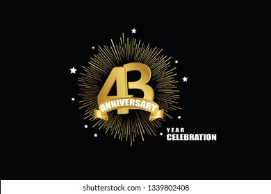 43 years anniversary celebration logotype. anniversary logo with golden isolated on black background, vector design for celebration, invitation greeting card-Vector