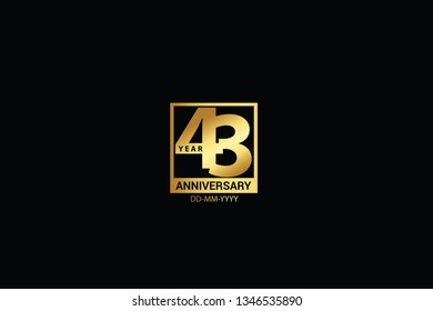 43 years anniversary celebration logotype. anniversary logo with golden and Spark light white color isolated on black background, vector design for celebration, invitation and greeting card-Vector