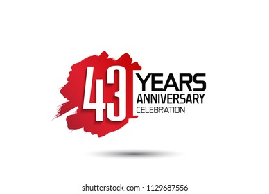 43 years anniversary celebration with red brush design isolated on white background for celebrating event