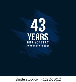 43 years anniversary celebration simple emblem, label, badge, logo,seal. vintage logo, 43 year sign, jubilee, greeting card