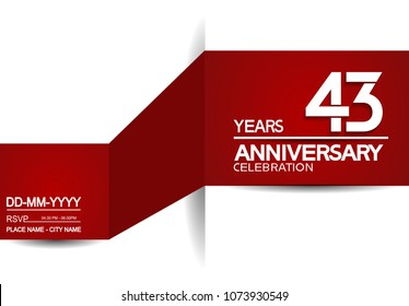 43 years anniversary design with red and white background for celebration event brochure