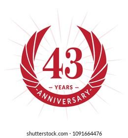 43 years anniversary. Elegant anniversary design. 43 years logo.