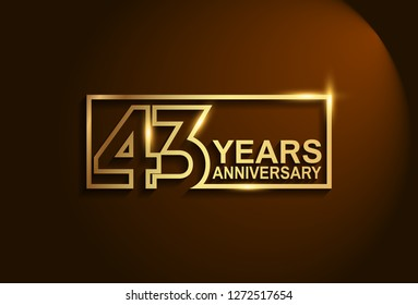 43 years anniversary golden design vector line style for company celebration