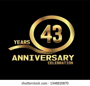43 years Anniversary with golden font and circle with golden ribbon and black design. Simple design anniversary. golden font in center golden circle. Elegant design with simple model