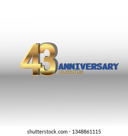 43 years Anniversary golden font with white background. golden number with blue and golden text. Simple design anniversary. Shadow in behind number and text. Elegant simple design