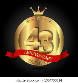 43 years anniversary with golden font, circle, crown, and star with red ribbon. anniversary text on top ribbon. Design like coin or medal with crown on top. My all design can see in my portofolio