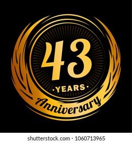 43 years anniversary. Anniversary logo design. 43 years logo.