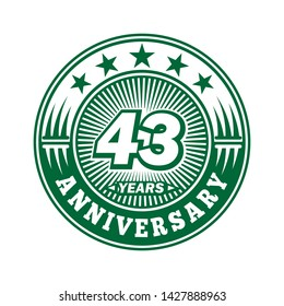 43 years anniversary. Anniversary logo design. Vector and illustration.