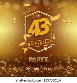 43 years anniversary logo template on gold background. 43rd celebrating golden numbers with red ribbon vector and confetti isolated design elements