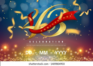 43 years anniversary logo template on gold and blue background. 43rd celebrating golden numbers with red ribbon vector and confetti isolated design elements