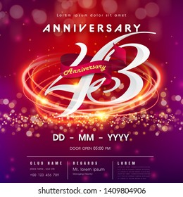 43 years anniversary logo template on red and pink  futuristic space background. 43rd modern technology design celebrating numbers with Hi-tech network digital technology concept design elements