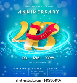 43 years anniversary logo template on blue Abstract futuristic space background. 43rd modern technology design celebrating numbers with Hi-tech network digital technology concept design elements.