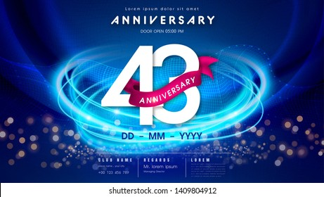 43 years anniversary logo template on dark blue Abstract futuristic space background. 43rd modern technology design celebrating numbers with Hi-tech network digital technology concept design elements.