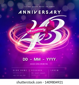 43 years anniversary logo template on purple Abstract futuristic space background. 43rd modern technology design celebrating numbers with Hi-tech network digital technology concept design elements.