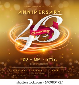 43 years anniversary logo template on golden Abstract futuristic space background. 43rd modern technology design celebrating numbers with Hi-tech network digital technology concept design elements.