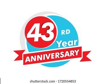 43 years anniversary logotype. Celebration 43rd anniversary celebration design