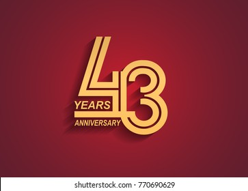 43 years anniversary logotype with linked number golden color isolated on red background for celebration event