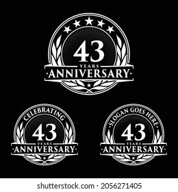 43 years anniversary set. 43rd celebration logo collection. Vector and illustration.