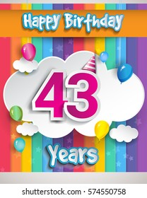 43 Years Birthday Celebration, with balloons and clouds, Colorful Vector design for invitation card and birthday party.