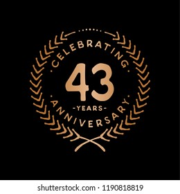 43 years design template. 43rd vector and illustration.