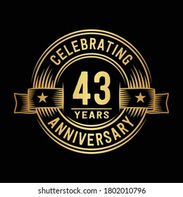 43 years logo design template. 43rd anniversary vector and illustration.