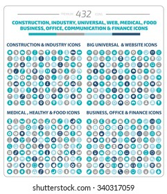 432 Big icon set. Industry, Construction, Medical, Logistic. Finance and business icon set, clean vector