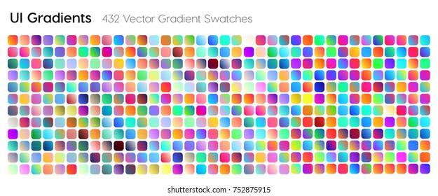 432 UI Gradient Color Swatches. Vector gradients background. Web Gradient. X style trend colors