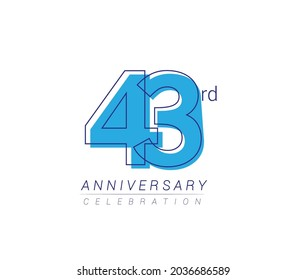 43rd anniversary blue colored vector design for birthday celebration, isolated on white background