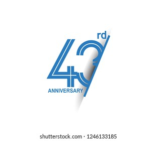 43rd anniversary blue cut style isolated on white background