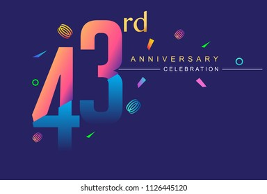 43rd anniversary celebration with colorful design, modern style with ribbon and colorful confetti isolated on dark background, for birthday celebration