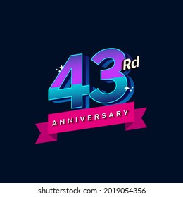 43rd anniversary celebration logotype colorful design. Simple and retro anniversary logotype design.