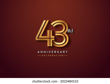 43rd anniversary celebration logotype with linked number gold and silver color isolated on elegant color. vector anniversary for celebration, invitation card, and greeting card