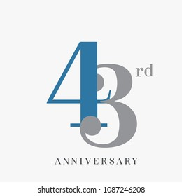 43rd anniversary celebration overlapping number blue and grey simple logo, isolated on grey background