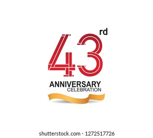 43rd anniversary celebration with red color number and golden ribbon for celebration event