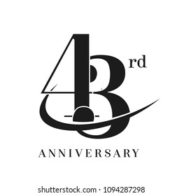 43rd Anniversary Celebration simple monogram Design. pictogram vector icon, simple years birthday logo label, black and white stamp isolated