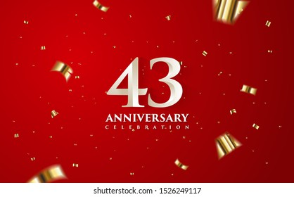 43rd anniversary celebration vector background. by using three colors in the design between white, gold and black. vectors can be edited easily according to their needs and desires.