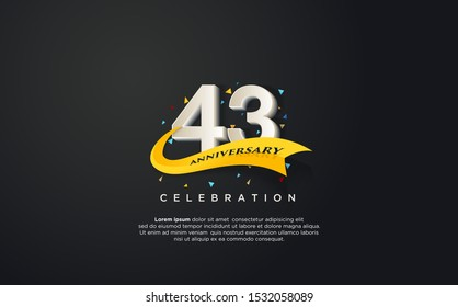 43rd anniversary celebration vector background. by using three colors in the design between white, yellow and black. vectors can be edited easily according to their needs and desires.