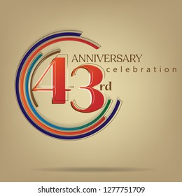 43rd Anniversary colorful with brown background, for greeting cards